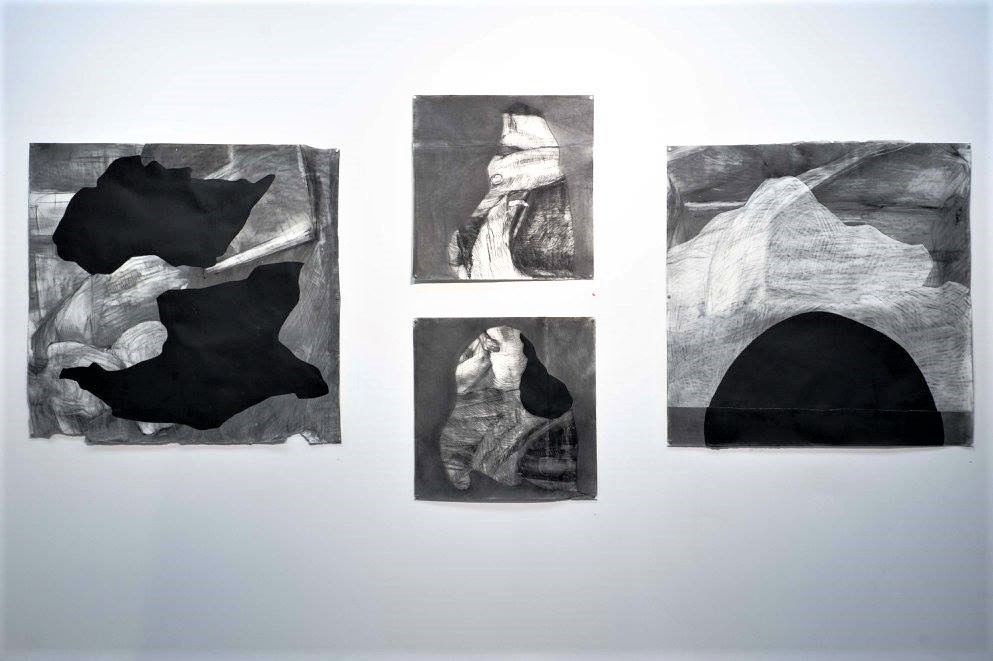 Nancy Downes + Lucy Turnbull, 'Re-beginning [1-4]', 2016, Charcoal, acrylic. Lara Merrington Photography.