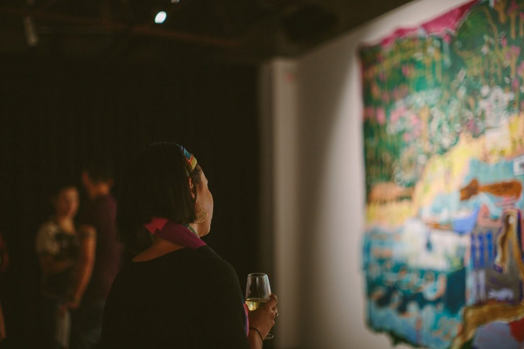 'Home Thoughts from Abroad', opening night, praxis ARTSPACE, February 2017. Photography by Jessica Clark.