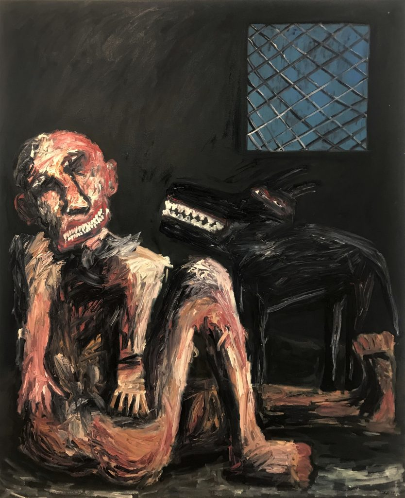 Tom Phillips, 'Black Dog on Man's Back', Oil on Canvas, 2015, 167cm x 136cm. Courtesy the artist.
