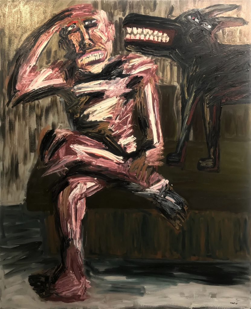 Tom Phillips, 'Man with Black Dog', Oil on Canvas, 2015, 167cm x 136cm. Courtesy the artist.
