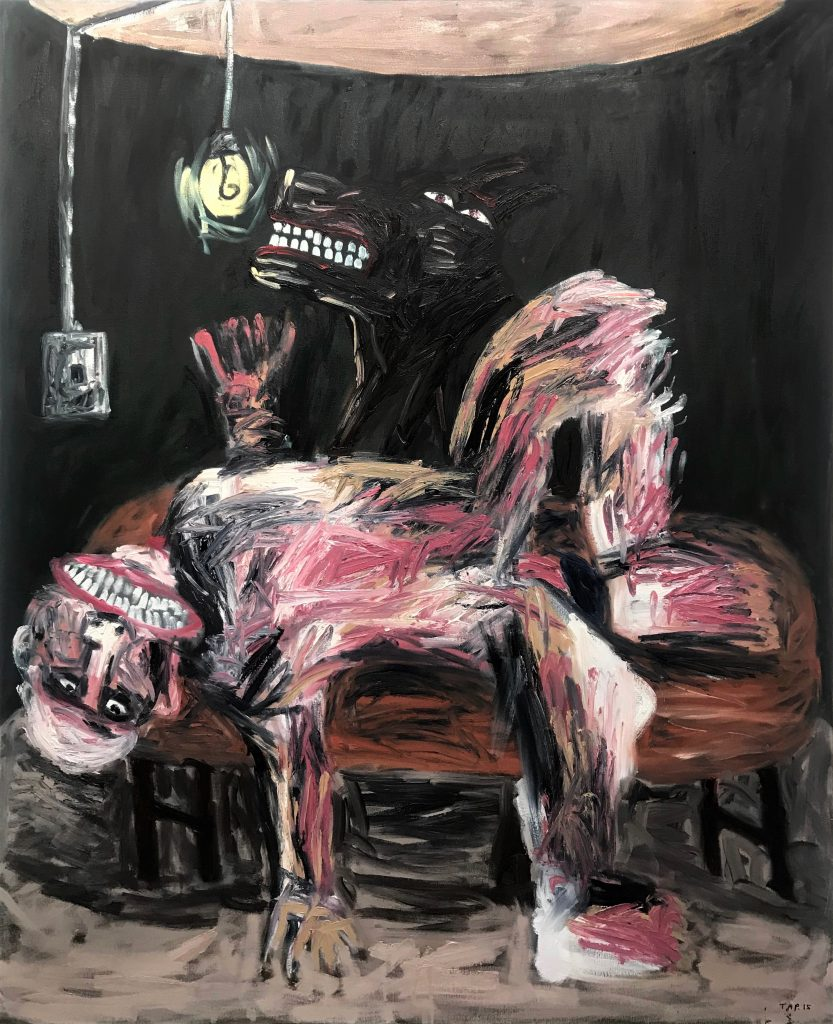 Tom Phillips, 'Man with Black Dog 5', Oil on Canvas, 2015 167cm x 136cm. Courtesy the artist.