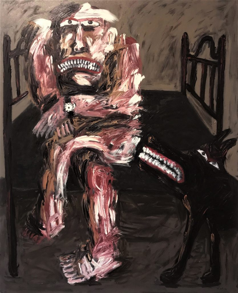 Tom Phillips, 'Man with Black Dog Growling 2', Oil on Canvas, 2015, 167cm x136cm. Courtesy the artist.