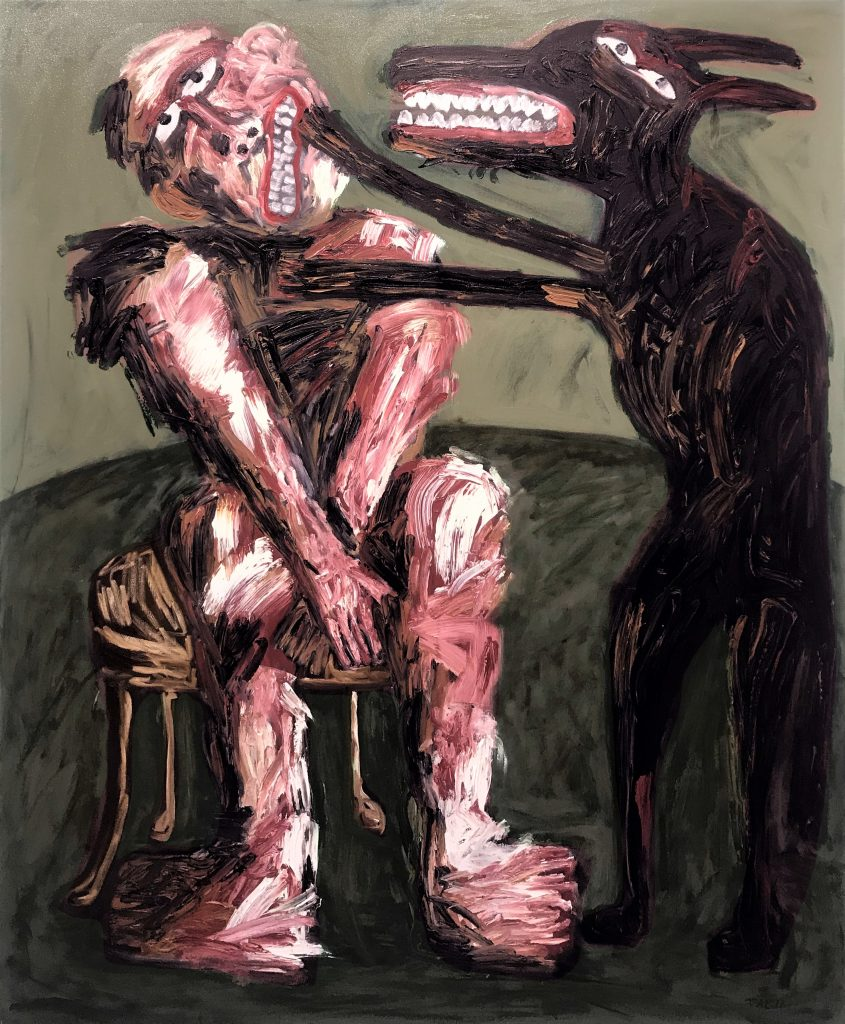 Tom Phillips, 'Between the Clock and Bed 3', Oil on Canvas, 2015, 167cm x 136cm. Courtesy the artist.