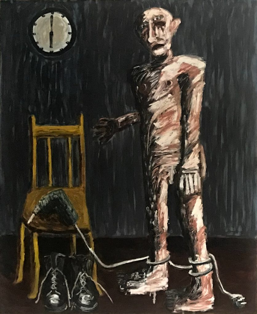Tom Phillips, 'Man with Yellow Chair', Oil on Canvas, 2017 1967cm x 136cm. Courtesy the artist.