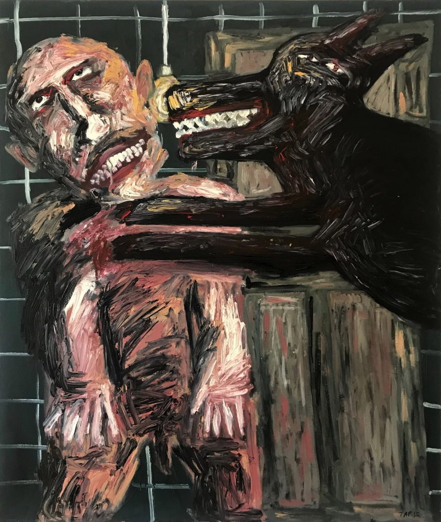 Tom Phillips, 'Man with Black Dog 2', Oil on Canvas, 2015, 122cm x 102cm. Courtesy the artist.