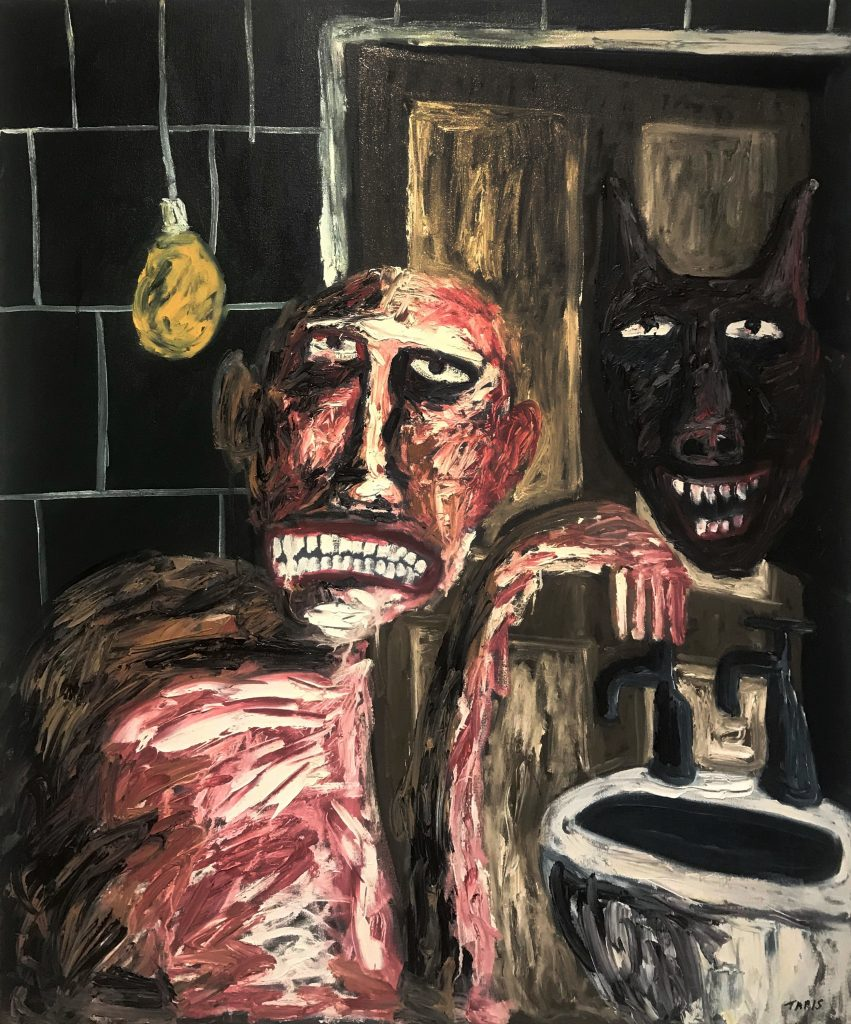 Tom Phillips, 'Man with Laughing Black Dog', Oil on Canvas, 2015, 122cm x102cm. Courtesy the artist.