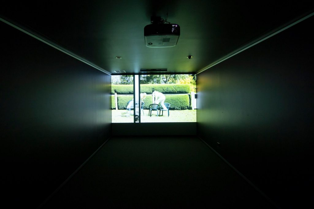 Cynthia Schwertsik, installation view of video work, praxis ARTSPACE, August 2018. Photography by Iain Bond.
