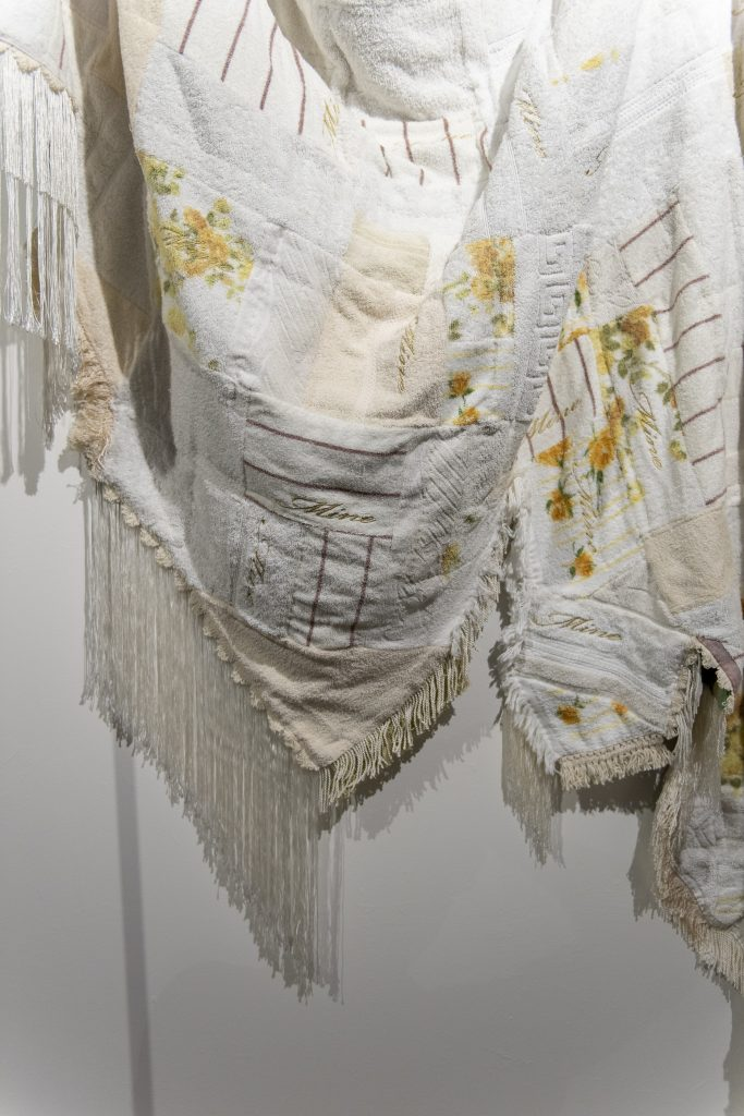 Sera Waters, 'Banner of Mine: Cultivation' (detail), 2017, Towels, woolen blanket, trim, glow-in-the-dark thread, metallic thread, cotton, brass poles. Photography by Iain Bond.