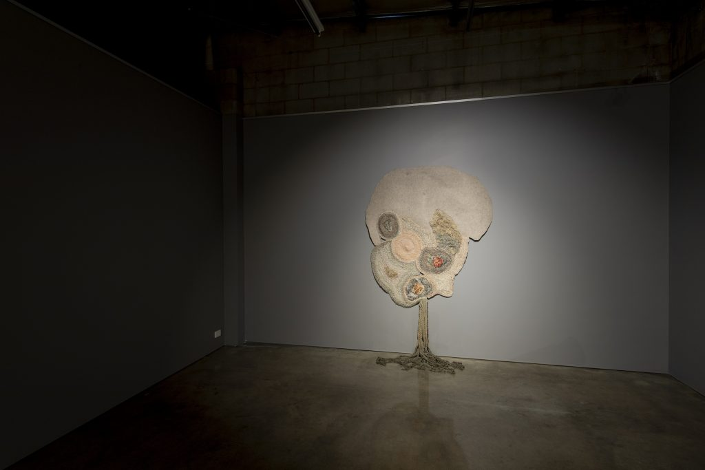 Sera Waters, 'Fritz and the rose garden', felt, hand-dyed calico and string, cotton, wool, hand-made stones, trim,, approximately 300 x 200 cm. Photography by Iain Bond.
