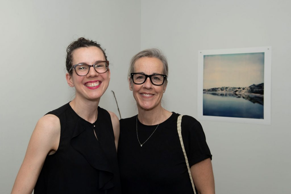 'Gentle a Path', Alice Blanch, opening night (L-R Heidi Kenyon, Cassie Thring), November 2018. Photography by Iain Bond.