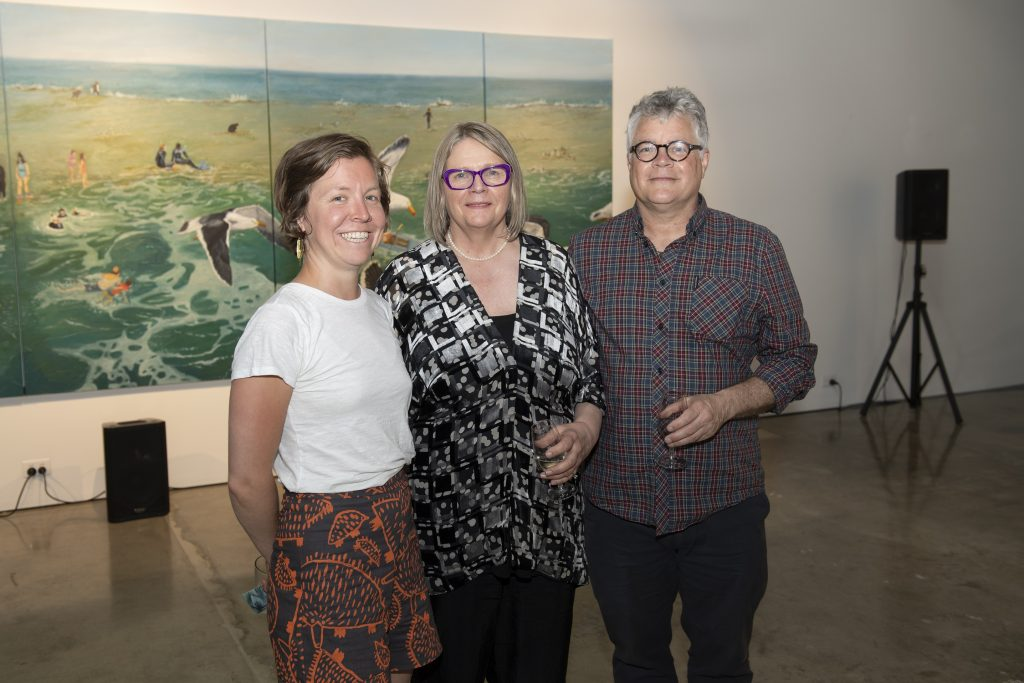 'Coastal Echoes', Christopher and Therese Williams, opening night (L-R Alice Blanch, Therese Williams, Christopher Williams, praxis ARTSPACE, September 2018. Photography by Iain Bond.