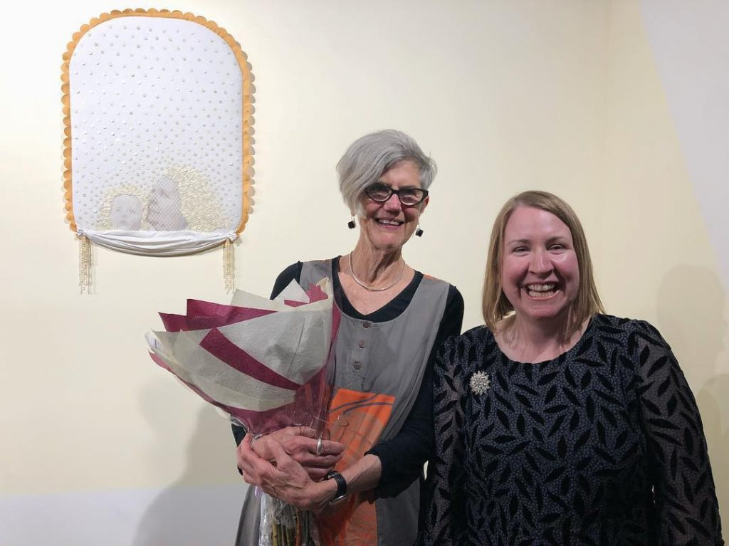 'Genealogical Ghostscapes', opening night (L-R Kay Lawrence, Sera Waters), praxis ARTSPACE, October 2018. Photo courtesy the gallery.