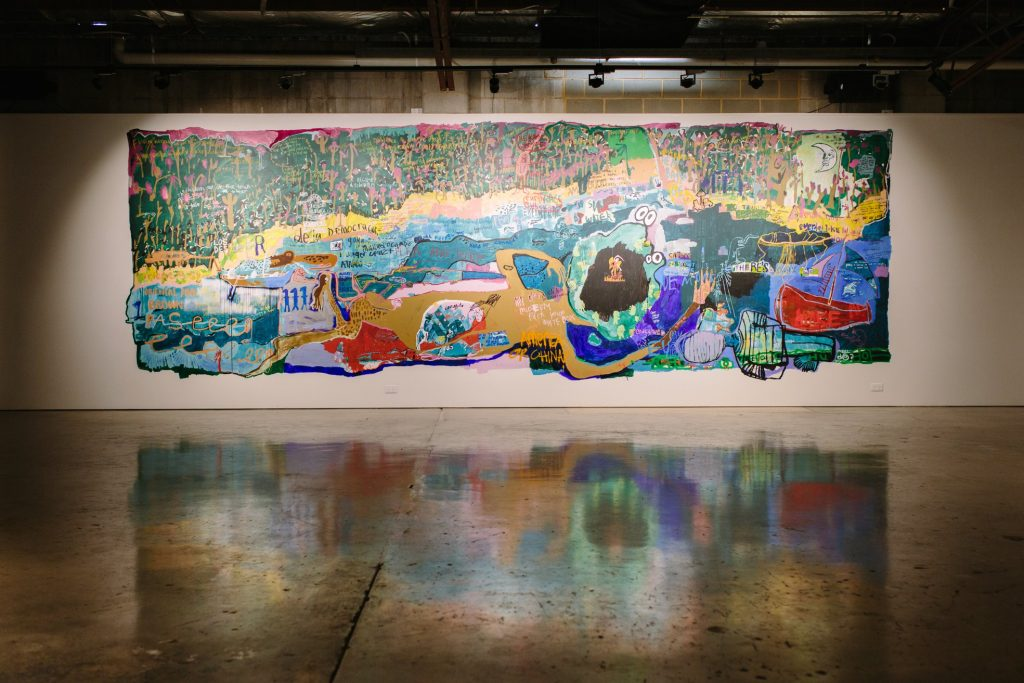Aida Azin, 'Feeding Fishes', 2017, acrylic and mixed media mural, praxis ARTSPACE. Photography by Jessica Clark.