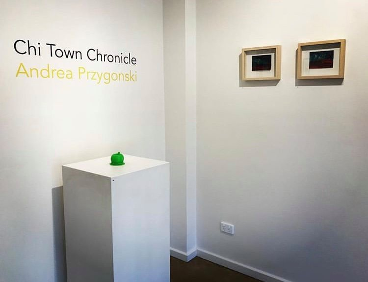 'Chi Town Chronicle', Andrea Przygonski, installation view, praxis ARTSPACE, March 2018. Courtesy the Gallery.