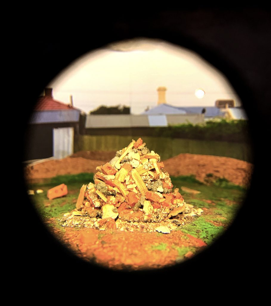 Ray Harris, 'Fantastical Escapes: What was once becomes rubble', 2019, mixed media diorama, dimensions variable. Courtesy the artist.