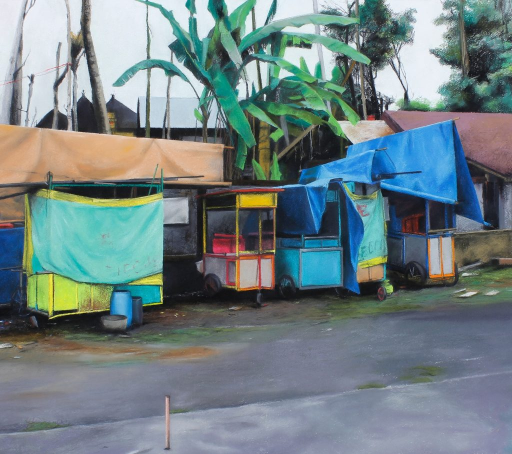 Trena Everuss, 'Food carts, bali', 93 x 110cm. Courtesy the artist.