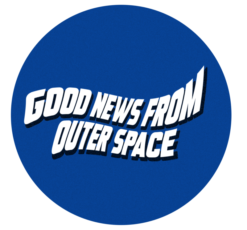 GOOD NEWS FROM OUTER SPACE logo, designed by Nicholas Hanisch.