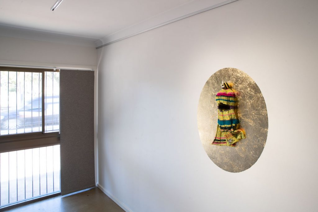 Julie Dunmall & Kate Kurucz, '7 x 7 (Balaklava Artefact)', 2019, Wool, found objects, gold leaf  Dimensions variable, 2019, 90 x 70cm. Photography by James Field.