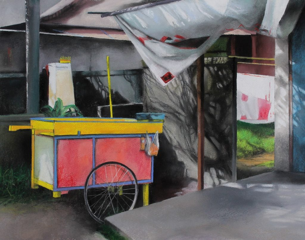Trena Everuss, 'Pink food cart, bali', 56 x 65cm. Courtesy the artist.
