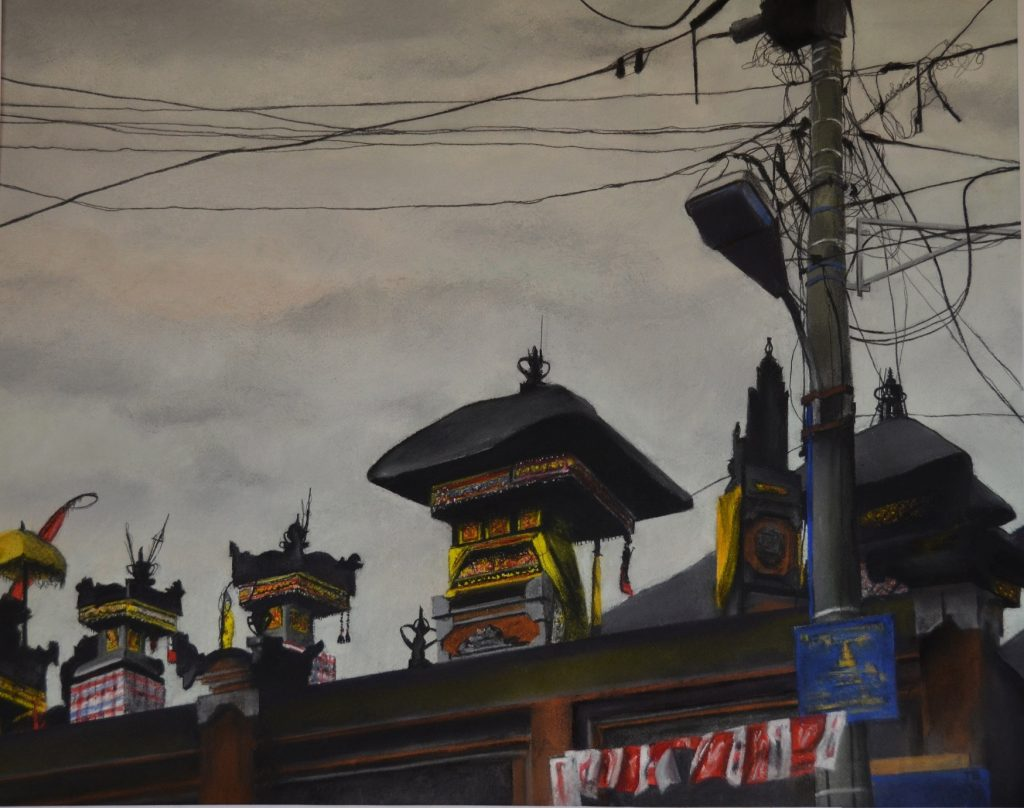 Trena Everuss, 'Rooftop shrines, monkey forest road', 62x78cm. Courtesy the artist.