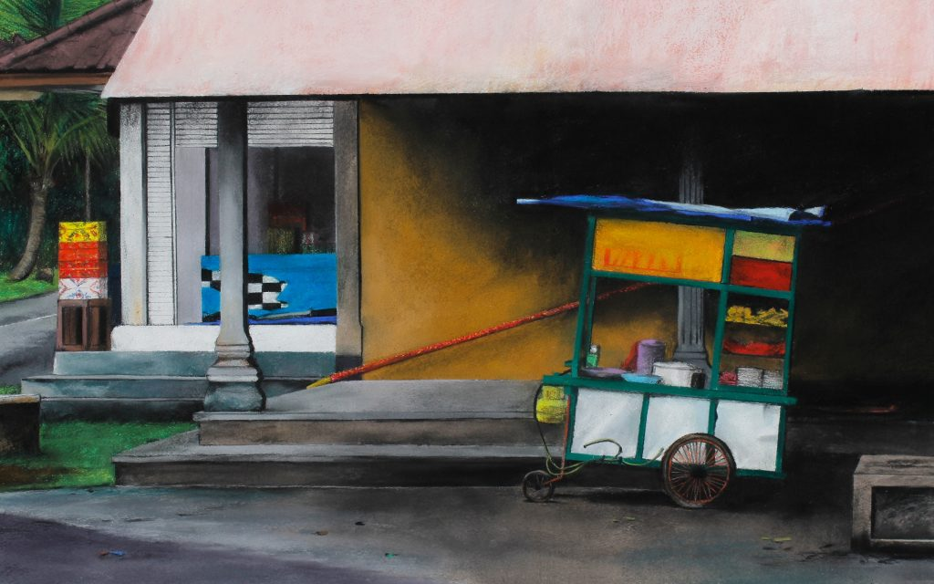 Trena Everuss, 'Shop and food cart, bali', 59 x 81cm. Courtesy the artist.