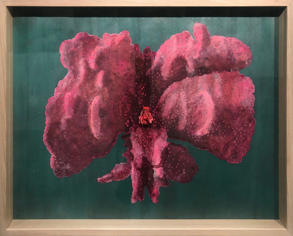 Chris de Rosa, 'Sirenia (pink)', 2017, Etching, digital inkjet print, pigment stain, foam filler & earthenware Magnani paper & reflective fabric. Unique State. 820x980x5mm. Courtesy the artist.