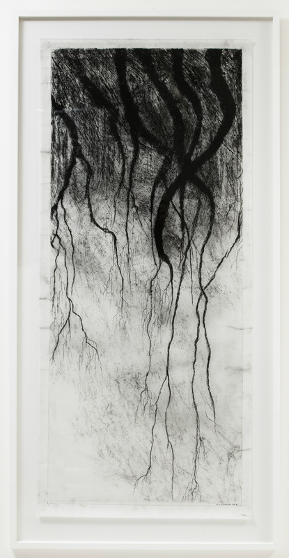 Liz Butler, 'Nevure i', charcoal on architectural drafting film, 83x165cm. Courtesy the artist.