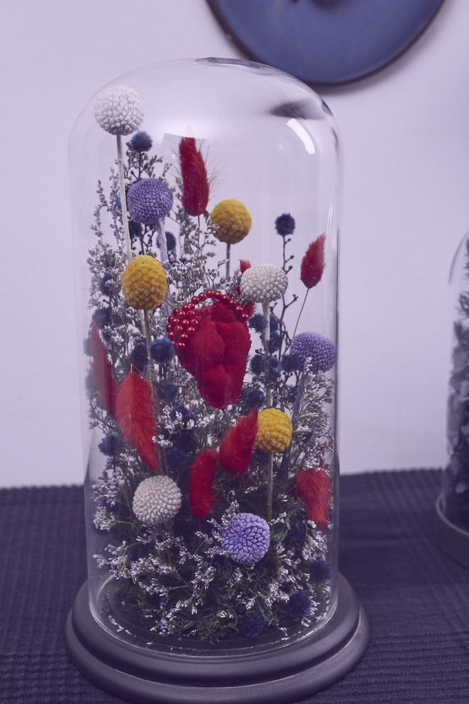 Angelique Joy, 'Heart 06 – Red garden heart', 2020Glass dome, everlasting flowers, wire, oasis, cotton thread, red velvet, red faux peal beads 15cm x 28 cm tall. $450