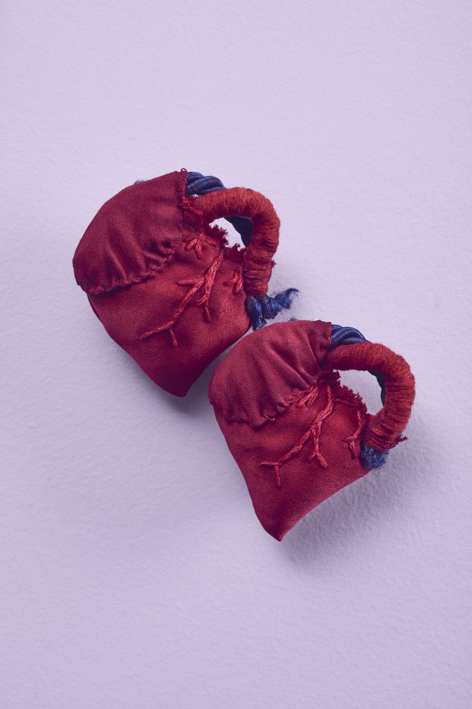 Angelique Joy, 'Heart 03 & 04 – Small red heart pair', 2020 Recycled satin, ribbon, cotton thread, acrylic paint, 6 cm x 7.5 cm. (x2). $150 for set.