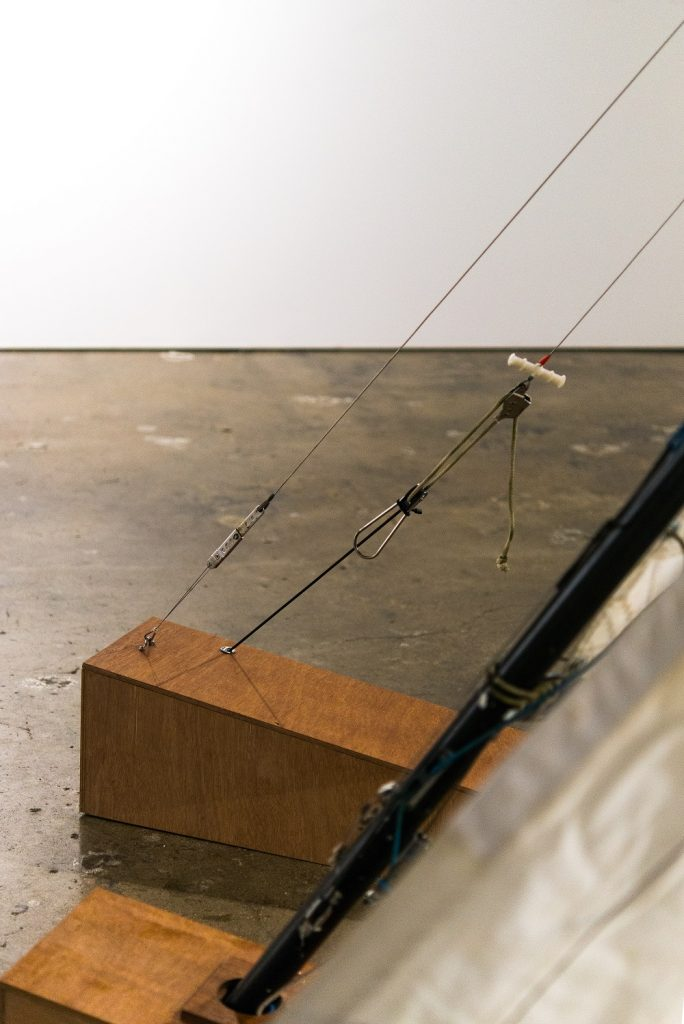 Edwina Cooper, 'Landwreck', 2020, Marine ply, rigging and sails from a 303 dinghy, stainless steel fittings, lead weights, whipping twine, dyneema, dimensions variable. POA. Photography by Steph Fuller. Photography by Steph Fuller.