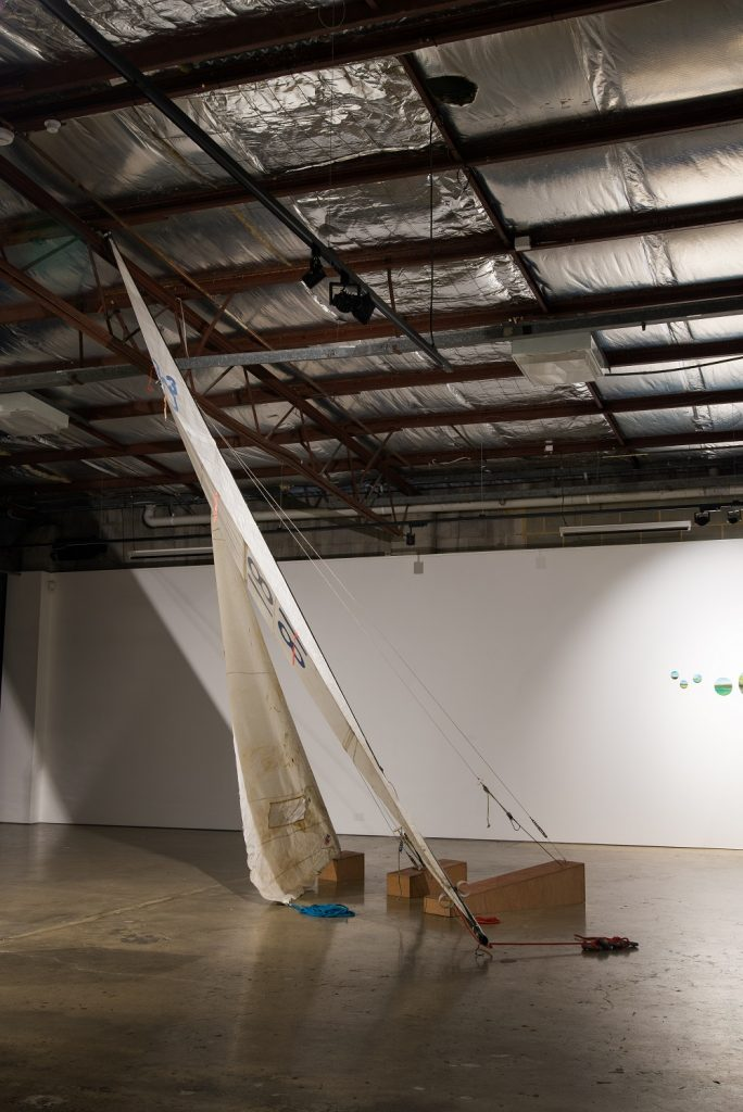 Edwina Cooper, 'Landwreck', 2020, Marine ply, rigging and sails from a 303 dinghy, stainless steel fittings, lead weights, whipping twine, dyneema, dimensions variable. POA. Photography by Steph Fuller.