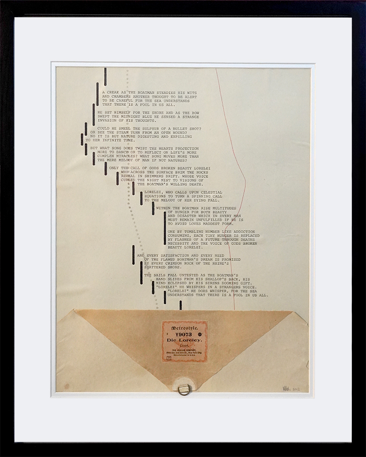 Mark Niehus, 'Lorelai', 2020, poem on antique pianola scroll, typewriter, 392mmx485mm. POA