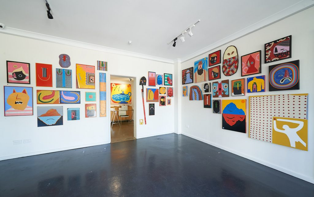 'STAY POSITIVE', Dan Withey, installation view, Praxis Artspace, August 2020. Photography by Sam Roberts.
