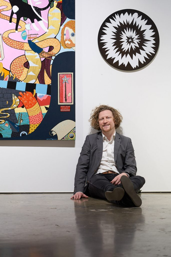 'STAY POSITIVE', Dan Withey (pictured), installation view, Praxis Artspace, August 2020. Photography by Sam Roberts.