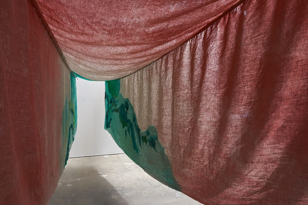 Nancy Downes, 'Tunnel Vision', 2020, linen, gouache, watercolour, oak, thread, fixings, dimensions approximately 4x1.8x1.5m. Photography by Sam Roberts.