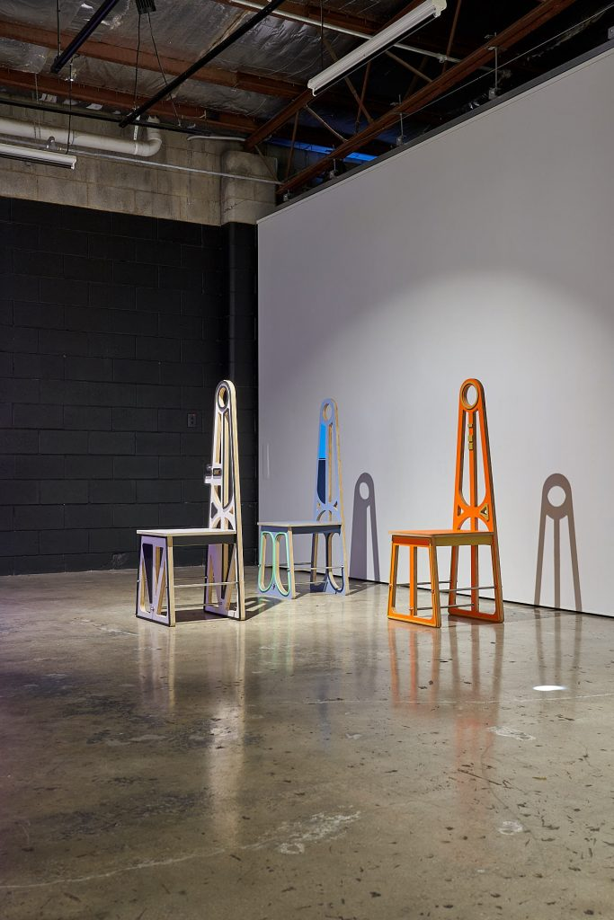 Zoe Kirkwood, 'Furniture for off-planet living prototype – Formal dining chair 2 (Elon)  (atmosphere re-entry aerothermodynamic study)', 2020, Premium hoop pine plywood, stainless steel, acrylic paint, metal fixings  45 x 129 x 45cm. Photography by Sam Roberts.