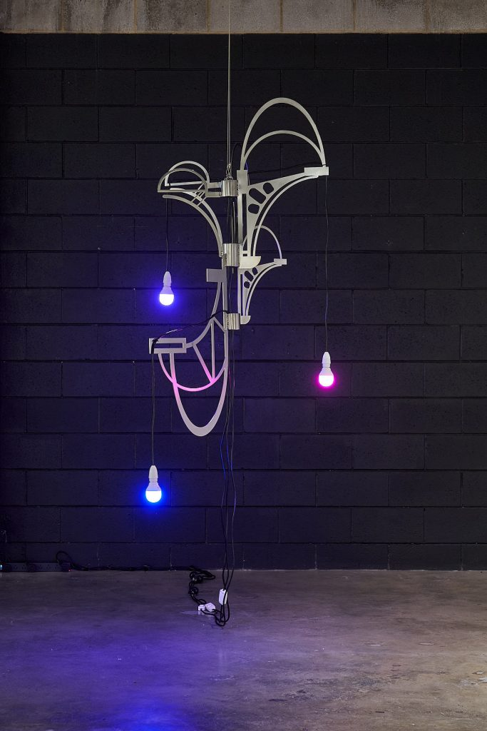 Zoe Kirkwood, 'Furniture for off-planet living prototype iv - Chandelier – Martian light study', 2020, Stainless steel, stainless steel fixings, custom light cords, colour change programmable light bulbs, 180 x 120 x 100cm approx. Photography by Sam Roberts.