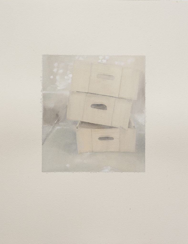 Talia Wignall, 'Packing boxes', 2020, watercolour and gouache on paper, 40x30cm. Photography by Sam Roberts