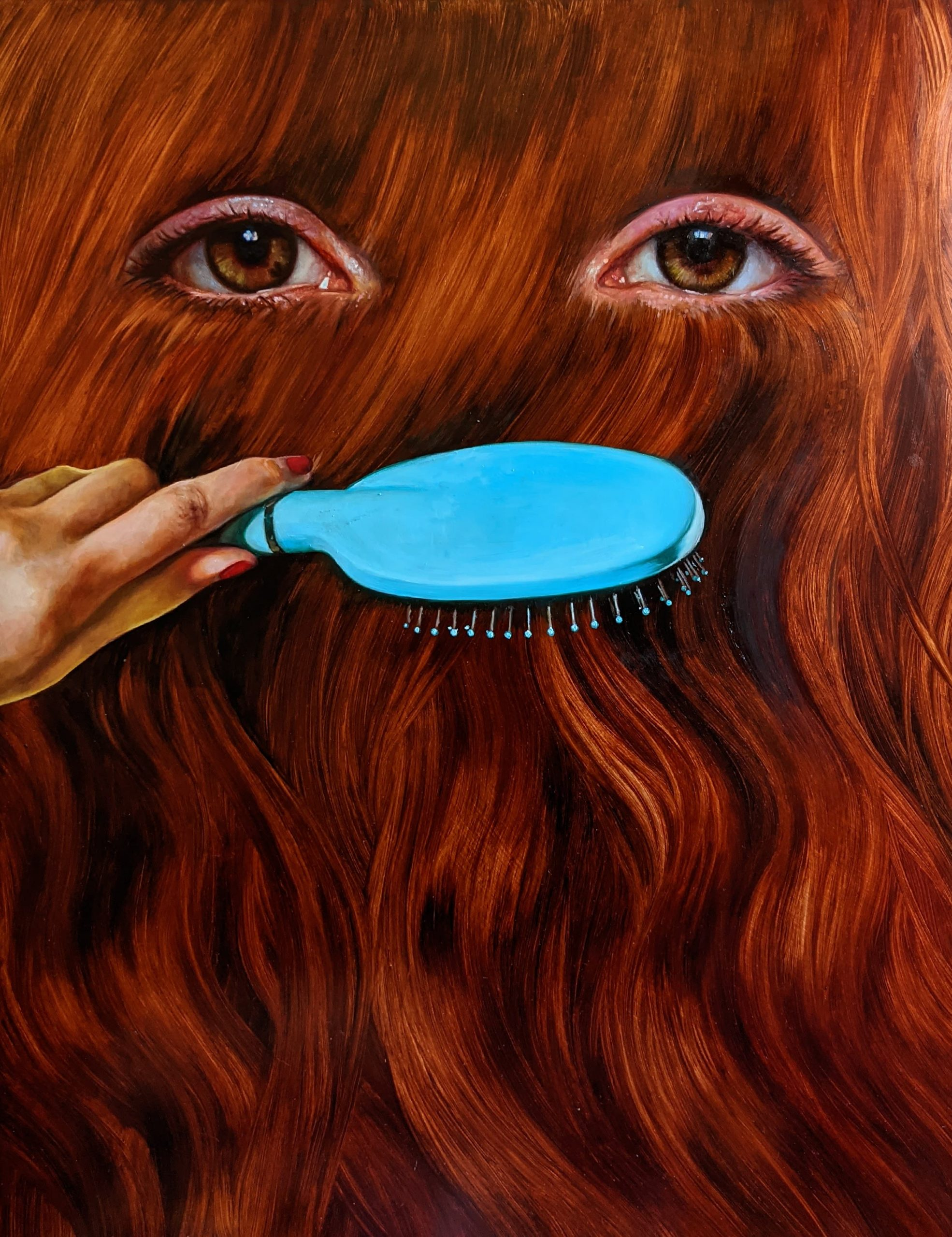 Kate Kurucz, Looking at the back of my head, oil on copper, 60 x 90cm, 2020