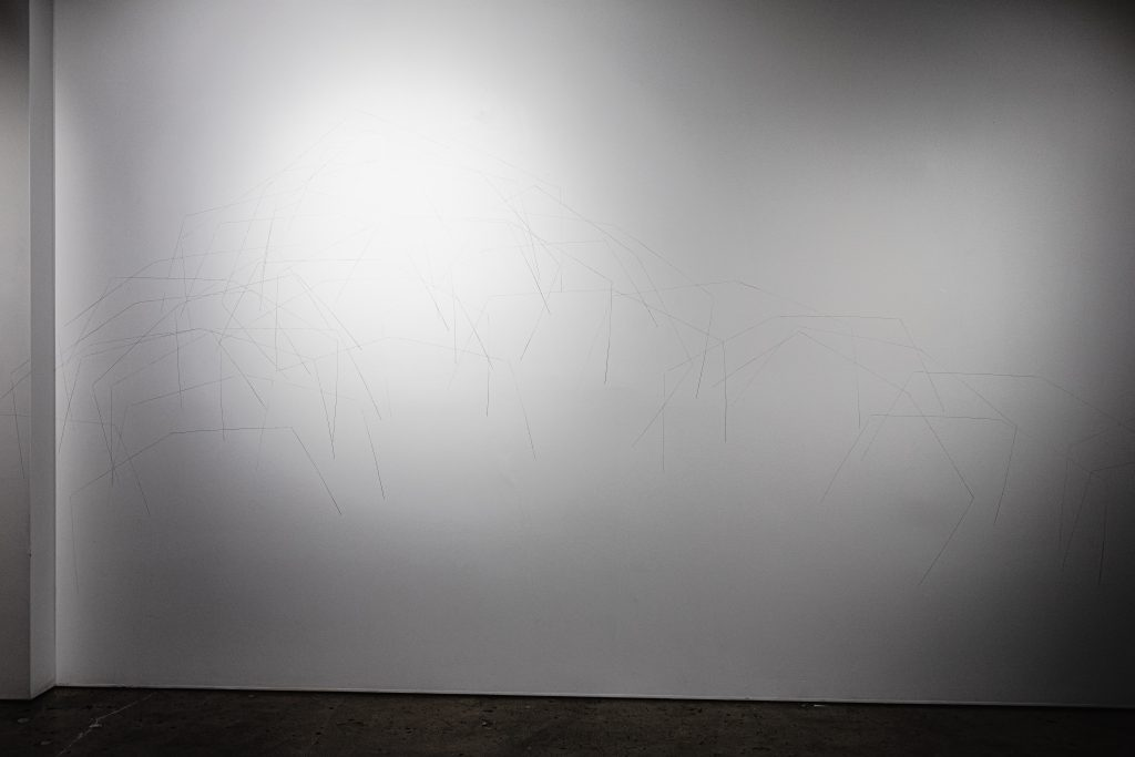 'Record of a Boat- buoyancy elevations', 2021. Graphite on Gallery wall, dimensions variable. Photography 13 May, 2021 by Rosina Possingham.