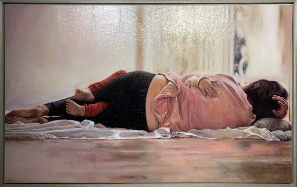 'Embrace (Self portrait with daughter), (framed) oil on canvas, 76 x 122