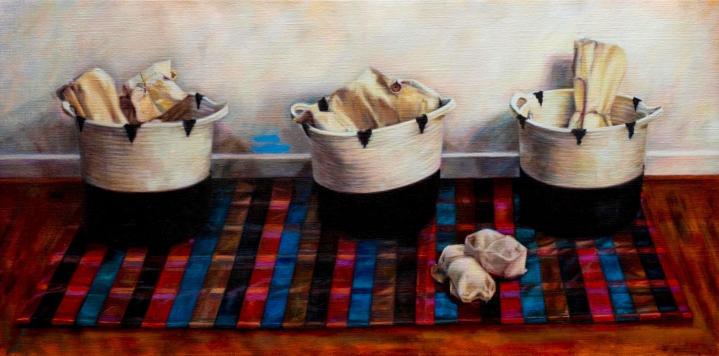 Landscape image of Jess Mara's Oil Painting 'The Sort', depicting three baskets on a silk checked fabric.